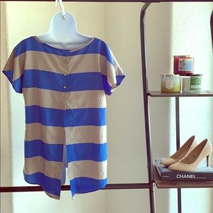 Blue and Tan Block Stripe Blouse with Exposed Back